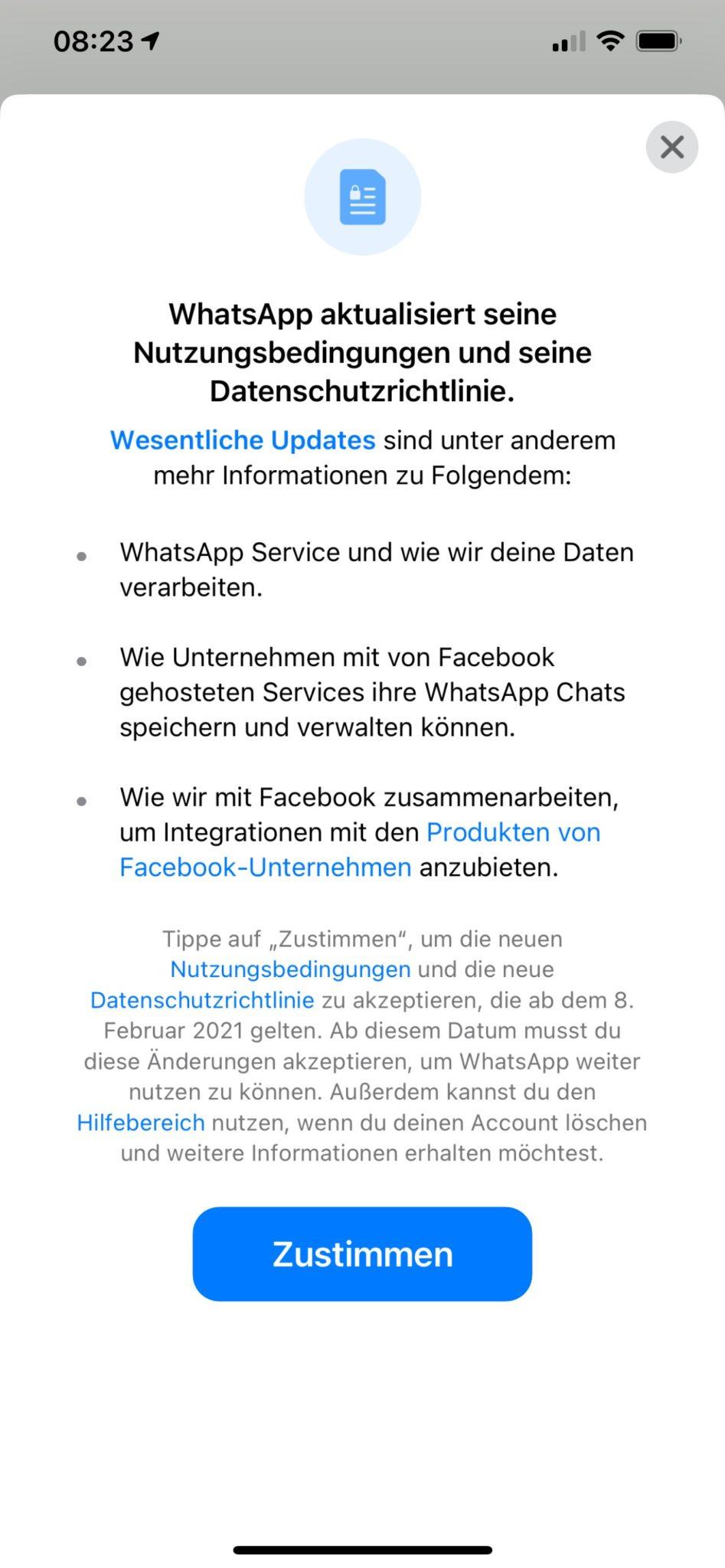 Wer nicht zustimmt, verliert am 15. Mai den WhatsApp-Zugang